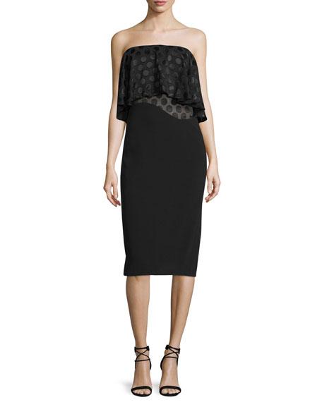 Cushnie Et Ochs Strapless Dot-Print Ruffle Dress, Black