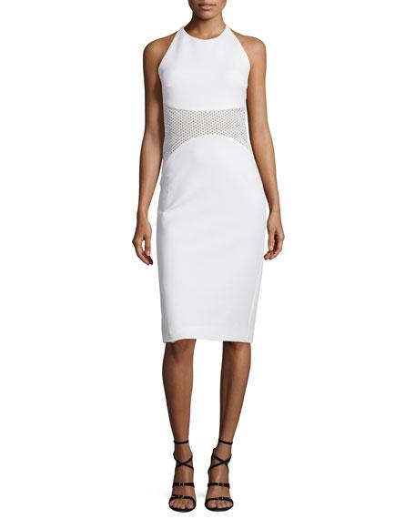 Cushnie et Ochs Halter-Neck Mesh-Inset Sheath Dress, White