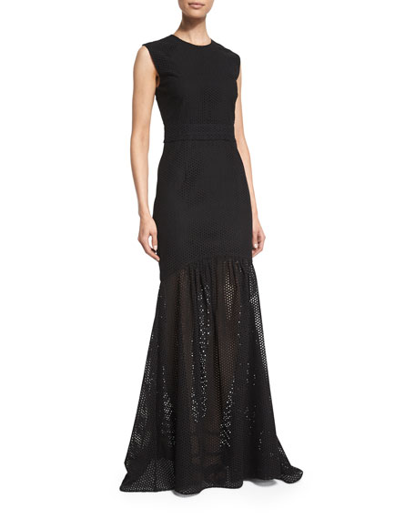 Cushnie Et Ochs Sleeveless Eyelet Mermaid Gown, Black