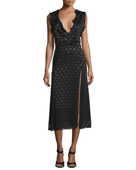 Cushnie Et Ochs Ruffle-Trim Sleeveless Midi Dress, Black