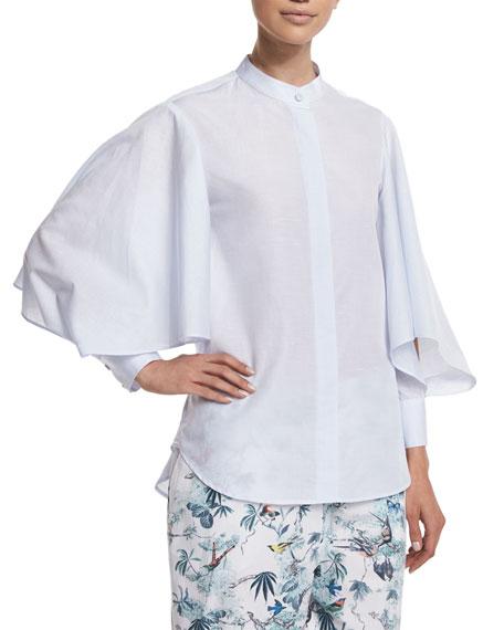 Adam Lippes Full-Sleeve Button-Front Shirt, Light Blue