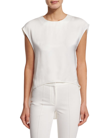 Adam Lippes Jewel-Neck High-Low Muscle Top, Ivory