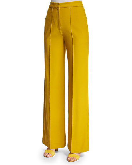 Adam Lippes High-Waist Wide-Leg Pants, Turmeric