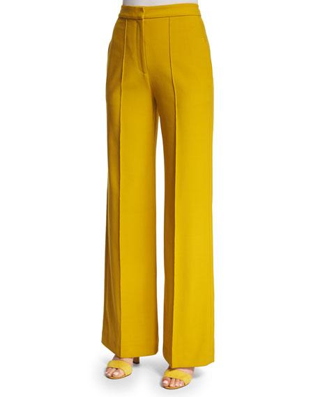 Adam Lippes High-Waist Wide-Leg Pants, Turmeric