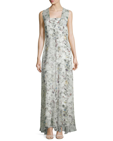 Adam Lippes Sleeveless Floral-Print Silk Gown, Cuban Forest