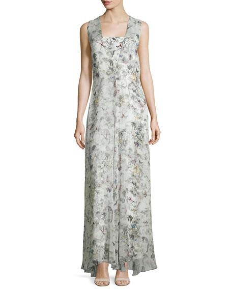 Adam Lippes Sleeveless Floral-Print Silk Gown, Cuban Forest