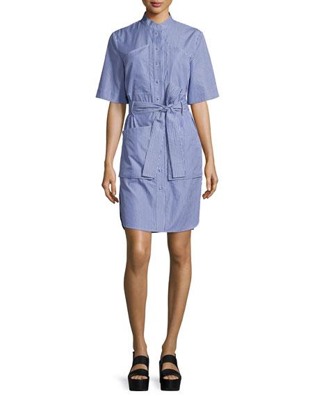 Adam Lippes Striped Poplin Half-Sleeve Shirtdress, Blue/White