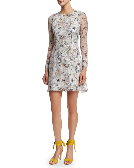 Adam Lippes Long-Sleeve Printed Mini Dress, Cuban Forest
