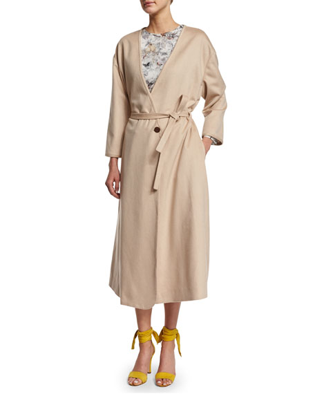 Long-Sleeve Belted Robe Coat, Nude