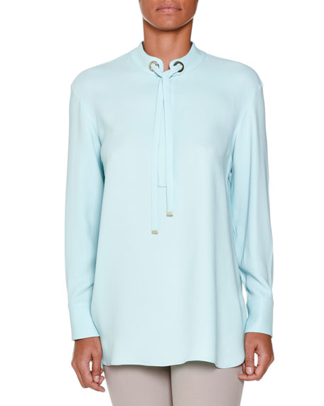 Piazza Sempione Long-Sleeve Tie-Neck Tunic, Aqua