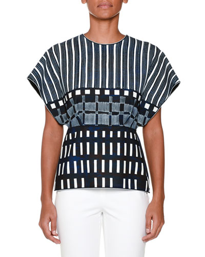 Dolman-Sleeve Domino-Print Top, Ink Blue/White
