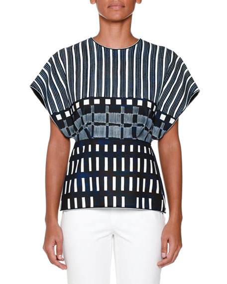 Piazza Sempione Dolman-Sleeve Domino-Print Top, Ink Blue/White