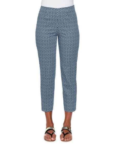 Piazza Sempione Audrey Bubble-Print Cropped Pants, Blue/Multi