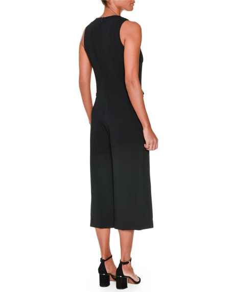 Sleeveless Wide-Leg Cropped Jumpsuit, Black