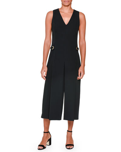 Piazza Sempione Sleeveless Wide-Leg Cropped Jumpsuit. Black