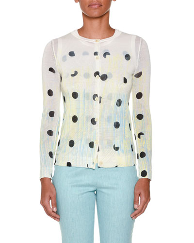 Deco-Dot Tie-Dye Cardigan, Yellow/Aqua/Multi