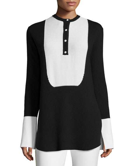 Edun Honeycomb-Placket Two-Tone Sweater, Black
