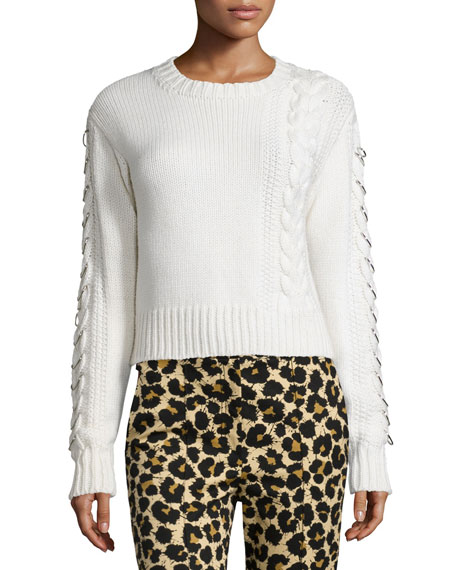 Edun Long-Sleeve Cable-Knit Sweater, White