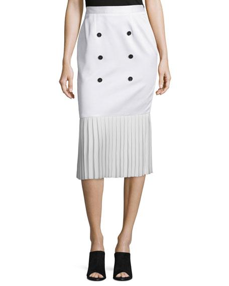 Edun Button-Front Pleated-Hem Skirt, White