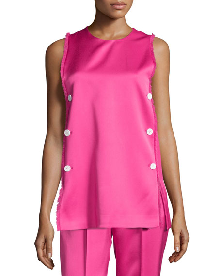 Edun Sleeveless Fringe-Trim Tunic, Neon Pink