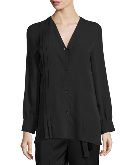Edun Long-Sleeve Button-Front Pintuck Blouse, Black