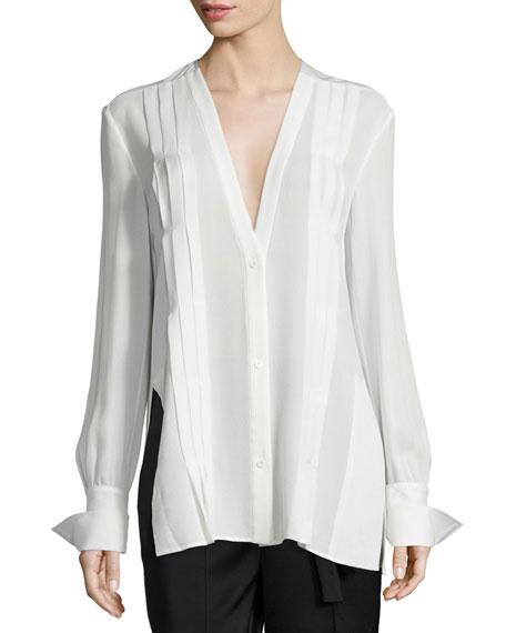 Edun Long-Sleeve Pintuck Tunic, Ivory