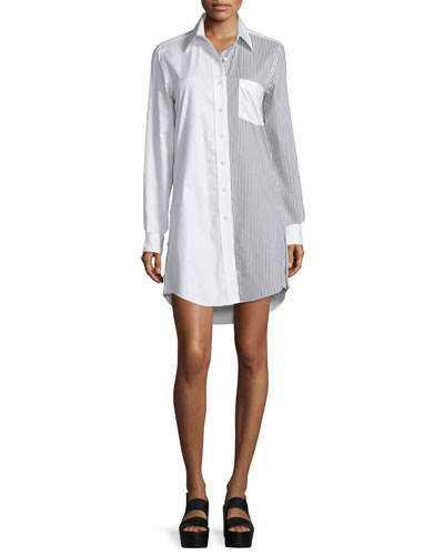 Edun Long-Sleeve Oversized Shirtdress, Black/White