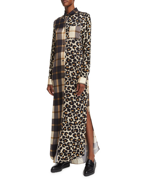 Edun Long-Sleeve Printed Shift Dress, Leopard Splatter