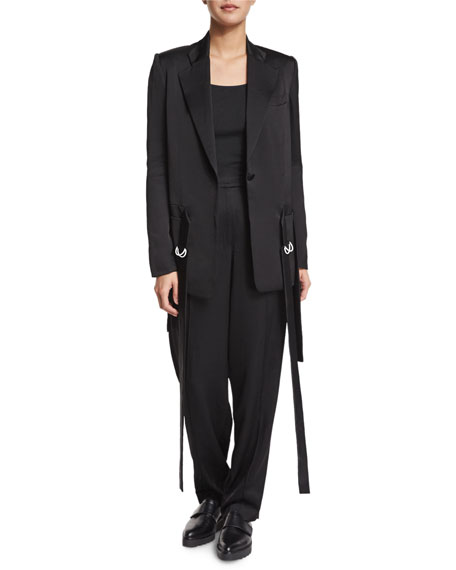 Edun Notched-Collar Waist-Tie Jacket, Black