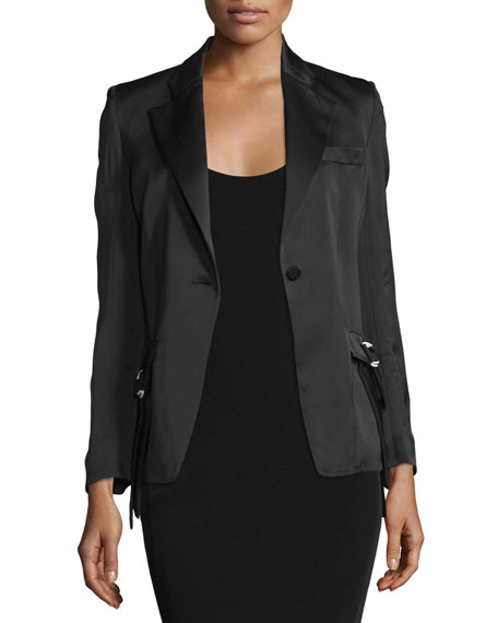 Edun One-Button Fitted Jacket, Black