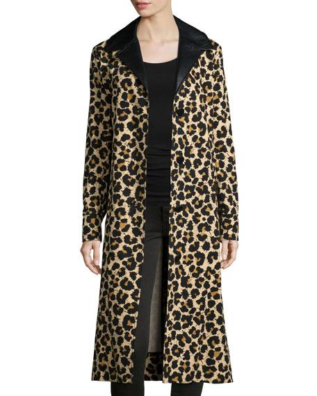 Leopard-Print Trenchcoat W/Leather Trim, Leopard Splatter