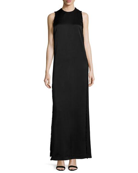 Edun Sleeveless Column Gown W/Fringe, Black