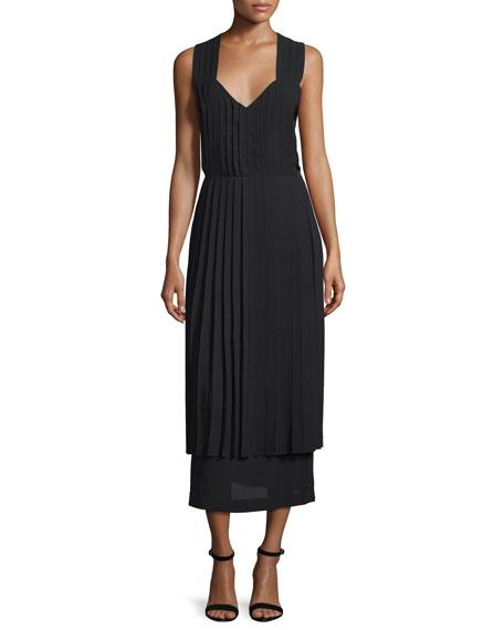 Edun Sleeveless Crisscross-Back Midi Dress, Black