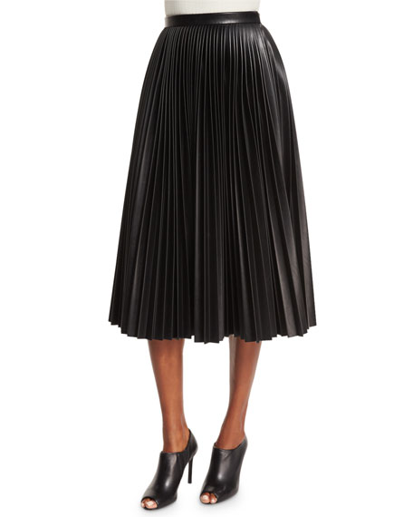 Alexander Wang High-Waist Faux-Leather Pleated Skirt, Onyx