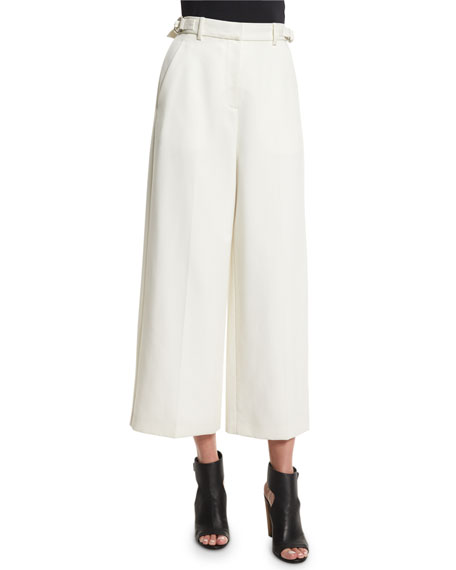 Alexander Wang Wide-Leg Cropped Pants, Bone