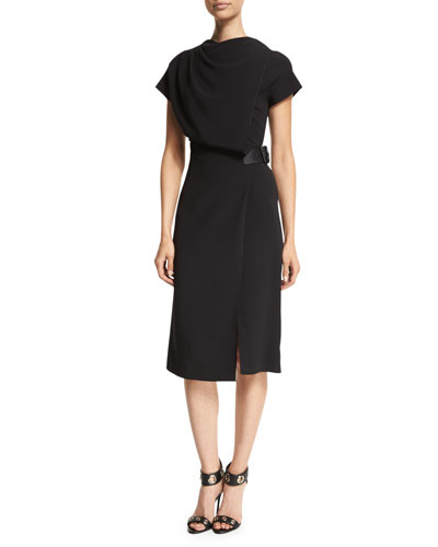 Drape-Front Cap-Sleeve Dress, Onyx