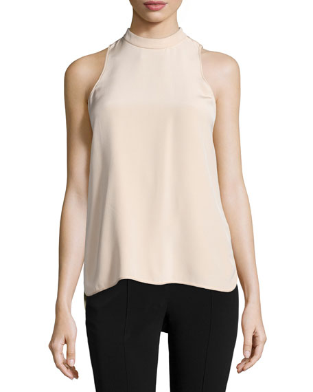 Alexander Wang Sleeveless Mock-Neck Back-Ties Blouse, Blush