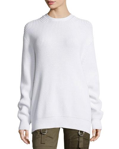 Long-Sleeve Flyaway-Back Ribbed Sweater, Silica