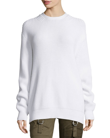 Alexander Wang Long-Sleeve Flyaway-Back Ribbed Sweater, Silica
