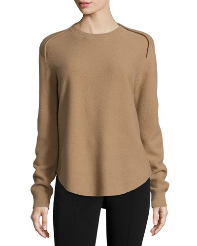 Long-Sleeve Striped Sheer-Back Sweater, Sandstorm