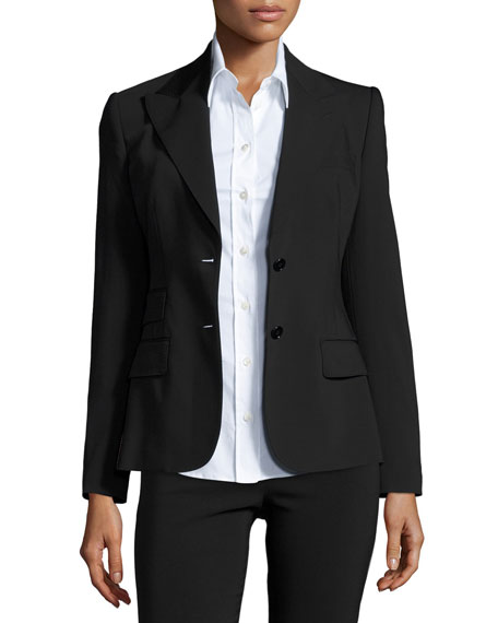 Turlington Two-Button Jacket, Black