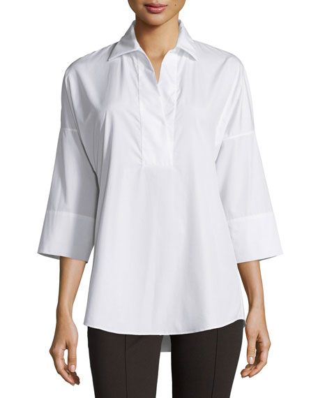 Akris punto Kimono-Sleeve Split-Neck Blouse & Mara Full-Length