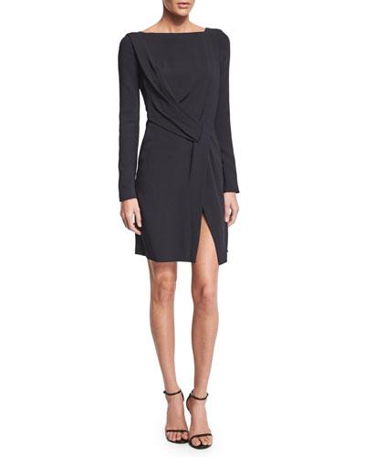 Maiyet Long-Sleeve Drape-Front Dress, Navy