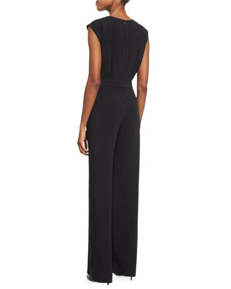 Sleeveless Drawstring-Waist Jumpsuit, Black
