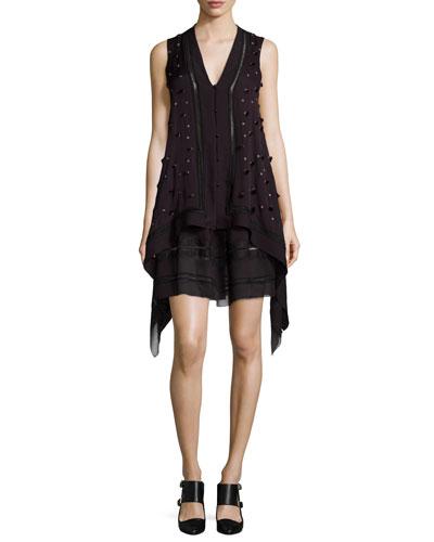 Maiyet Sleeveless Embellished Short Caftan Dress, Maroon