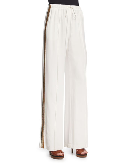 Maiyet Drawstring-Waist Wide-Leg Pants, Off White