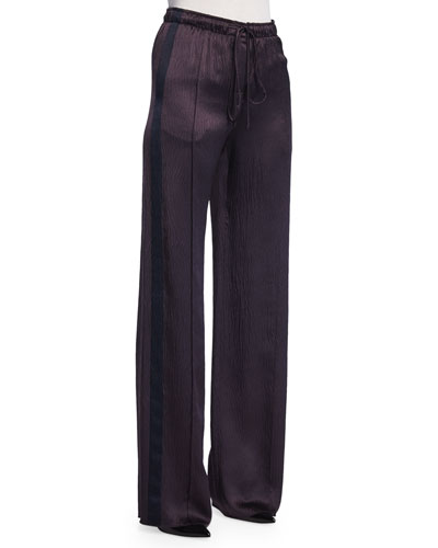 Drawstring-Waist Wide-Leg Pants, Maroon/Navy