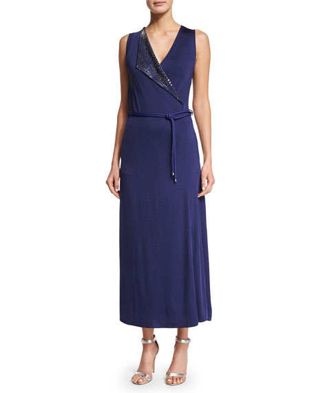 Giorgio Armani Sleeveless Embellished Wrap Gown, Ink