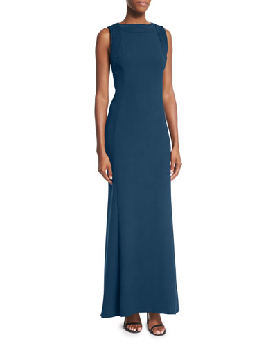Trapunto-Stitch Sleeveless Gown, Teal