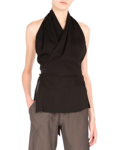 Halter-Neck Wrap Blouse, Black